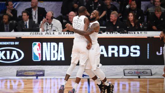 LeBron James y Kevin Durant (Foto: AFP)