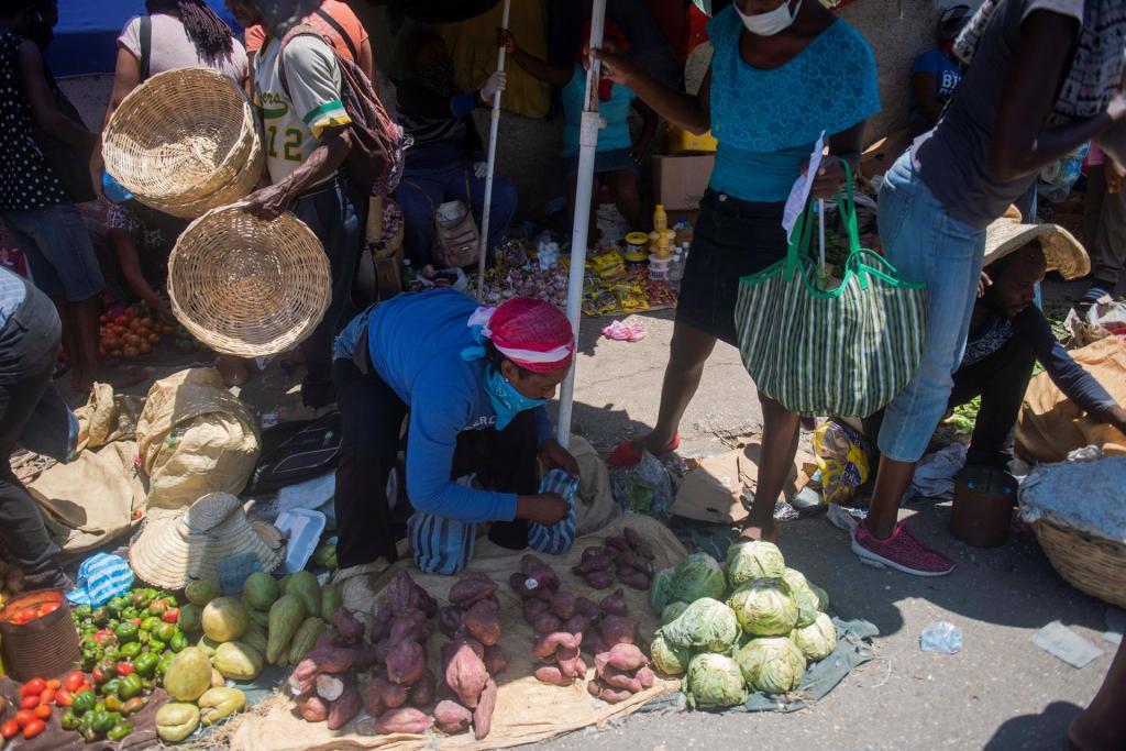 Habitantes se abastecen de alimentos en el mercado callejero de Pétion-Ville, principal zona comercial de Puerto Príncipe. EFE/Jean Marc Herve Abelard/Archivo