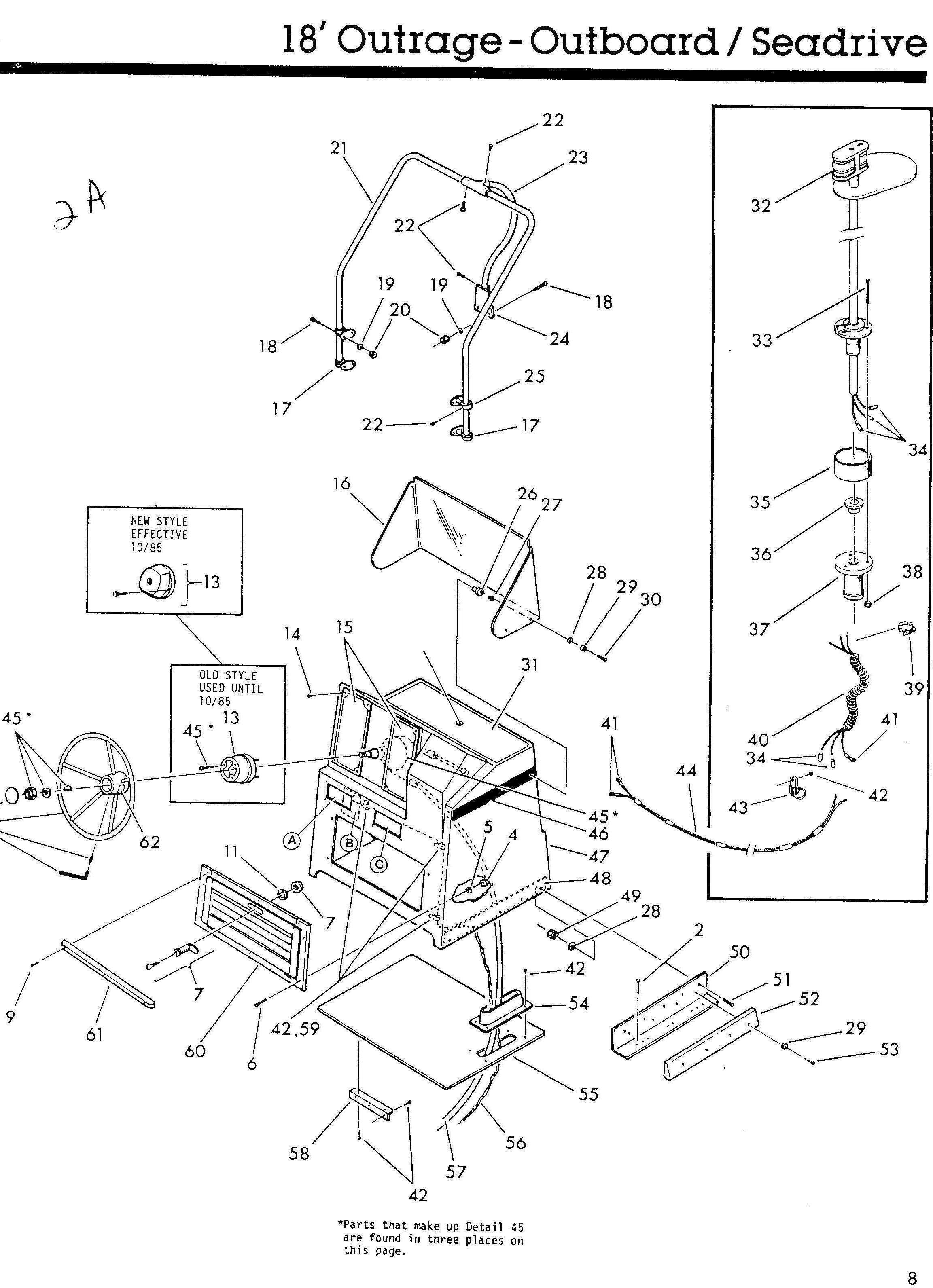 Boston Whaler® Outrage-18, 1986: Console Exploded-Drawng