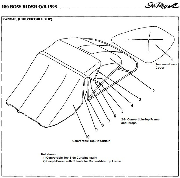 Sea Ray® 180-Bowrider-Outboard, 1998: parts-manual-canvas
