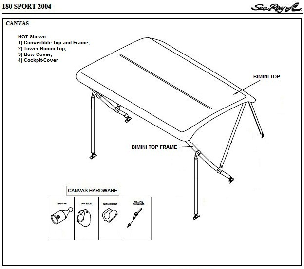 Bimini Top Canvas NO Zippers (Factory OEM) for Sea Ray