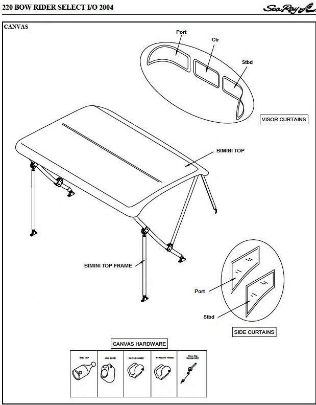 Bimini Visor (Factory OEM) for Sea Ray® 220 Bowrider