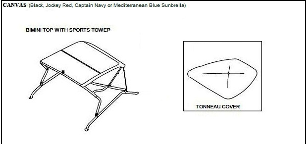 Tower Top Canvas and Frame (Factory OEM) for Sea Ray® 220
