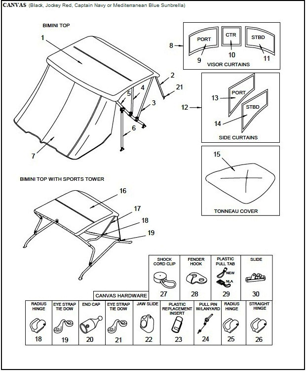 Bimini Aft-Curtain (Factory OEM) for Sea Ray® 220 Select