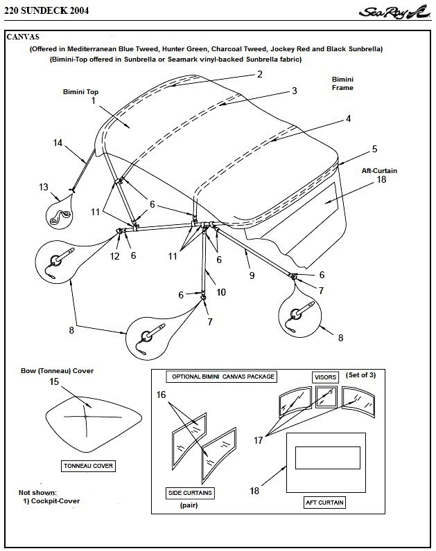 Bimini Aft-Curtain (Factory OEM) for Sea Ray® 220 Sundeck