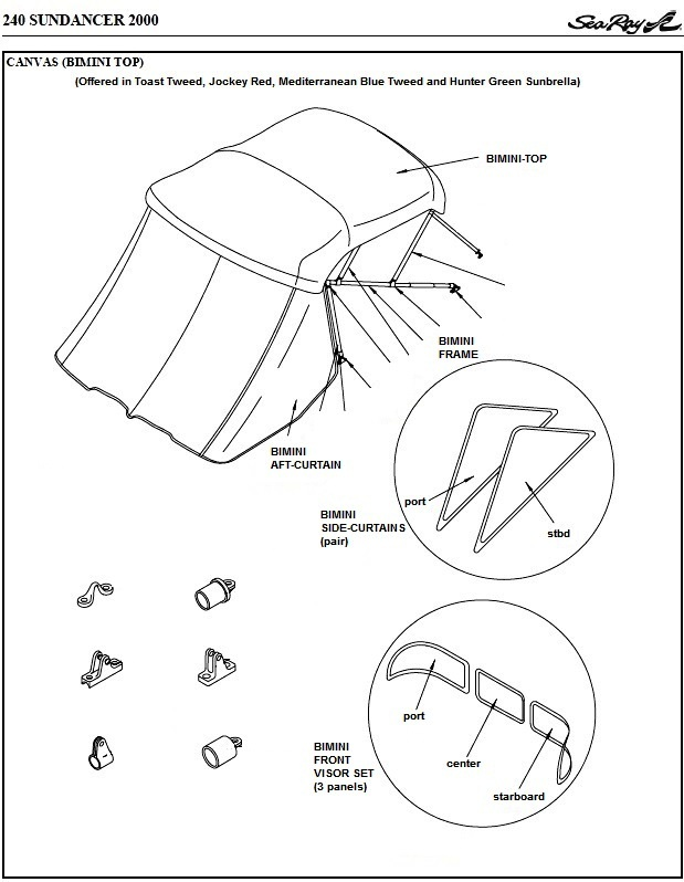 Sea Ray® 240-Sundancer, 2000: parts-manual-canvas-drawing
