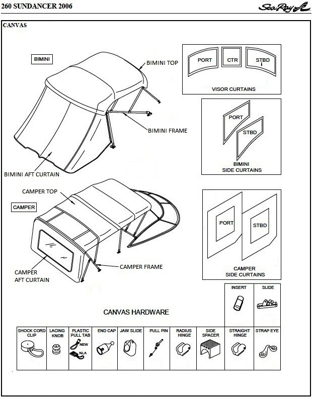 Camper Top Canvas and Frame, SeaMark® fabric (Factory OEM