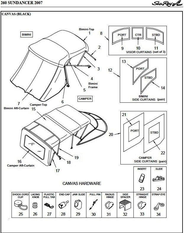 Sea Ray® 260-Sundancer-No-Arch, 2007: parts-manual-canvas