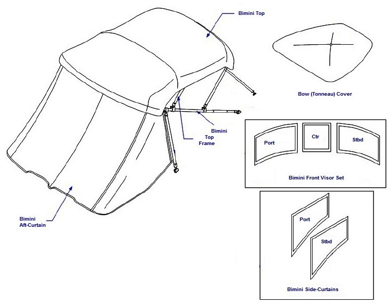 Bow Cover (Factory OEM) for Sea Ray® 270 SLX NO Arch (2009