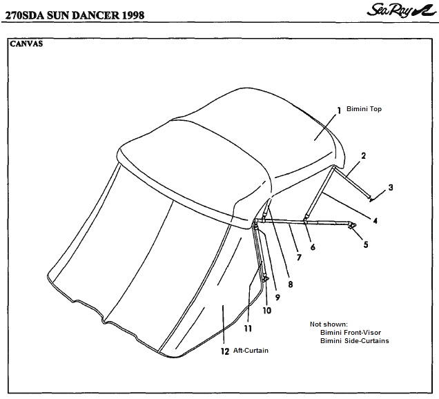 Bimini Aft-Curtain (Factory OEM) for Sea Ray® 270