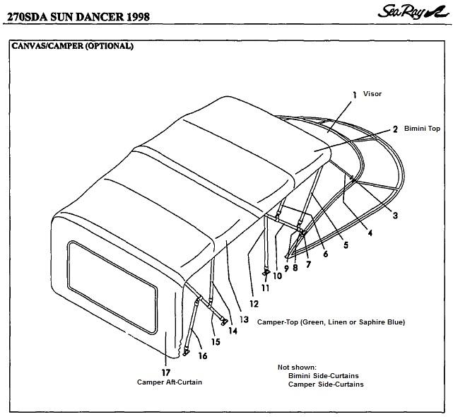 Sea Ray® 270-Sundancer, 1998: parts-manual-canvas-drawing