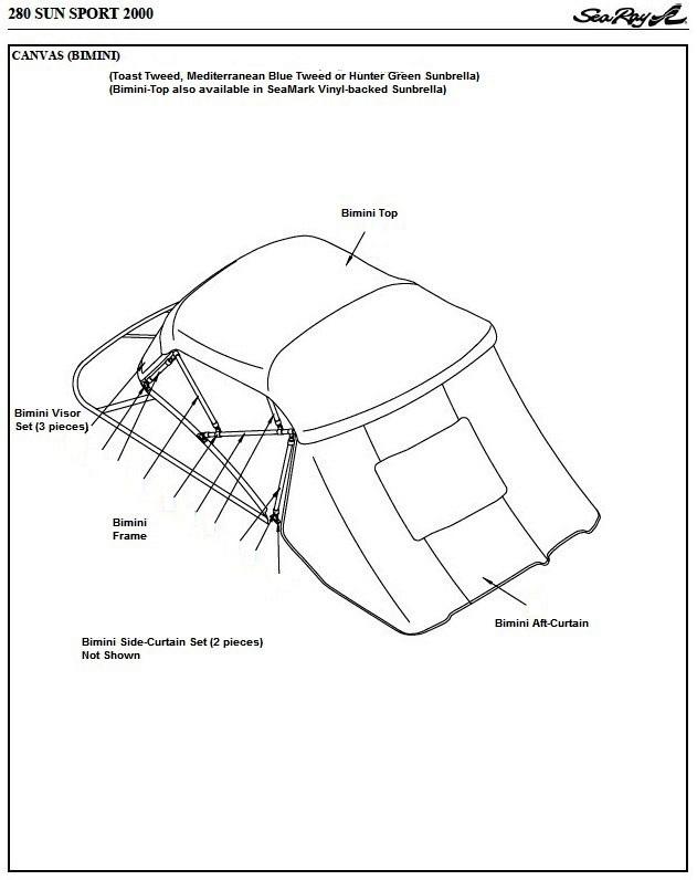 Sea Ray® 280 Sun Sport Bimini-Visor-OEM-G™ Factory Front