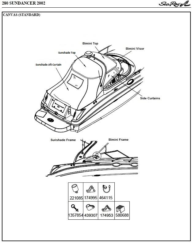 Sea Ray® 280-Sundancer, 2002: parts-manual-canvas-drawing