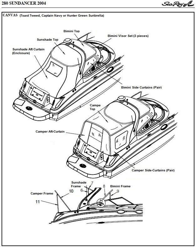 Sea Ray® 280-Sundancer, 2004: parts-manual-canvas-drawing