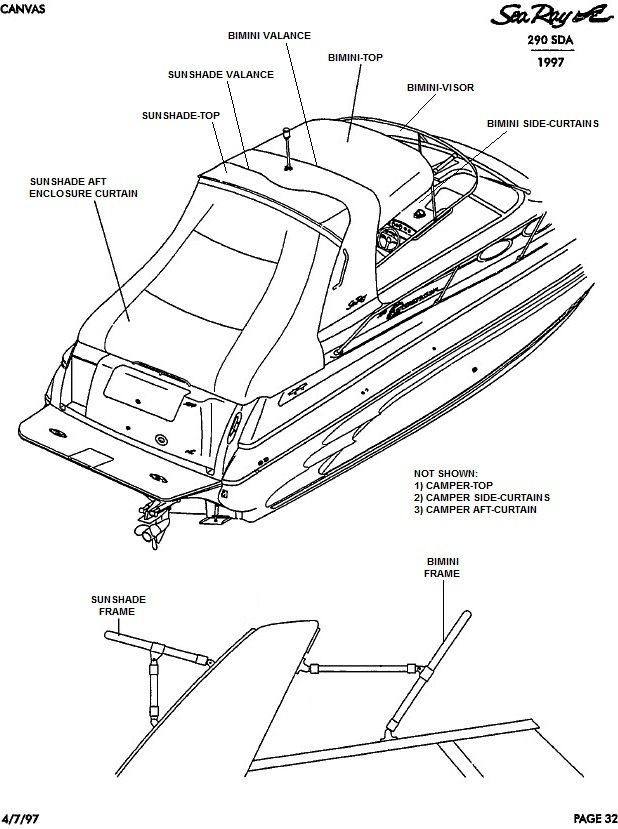 Sea Ray® 290-SDA-Sundancer, 1997: parts-manual-canvas