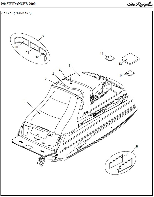 Sea Ray® 290-Sundancer, 2000: parts-manual-canvas-drawing