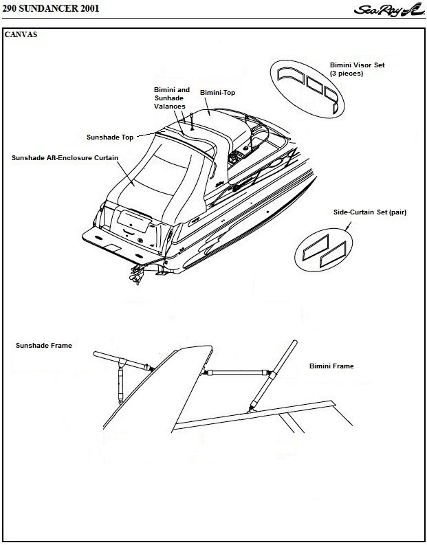 Sea Ray® 290-Sundancer, 2001: parts-manual-canvas-drawing