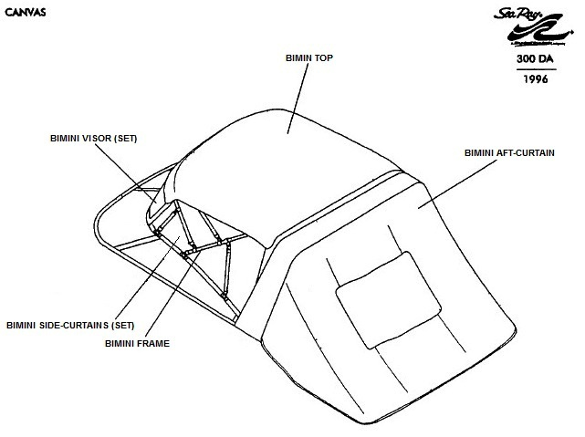 Bimini Visor (Factory OEM) for Sea Ray® 300 Sundancer