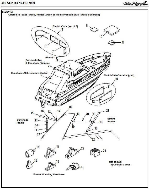 Sea Ray® 310-Sundancer, 2000: parts-manual-canvas-drawing