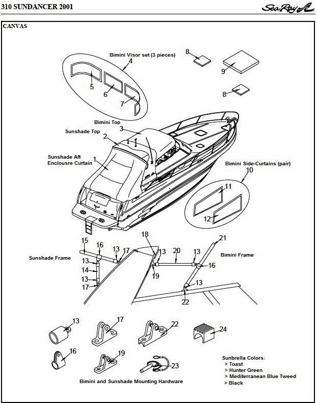 Sea Ray® 310-Sundancer, 2001: parts-manual-canvas-drawing