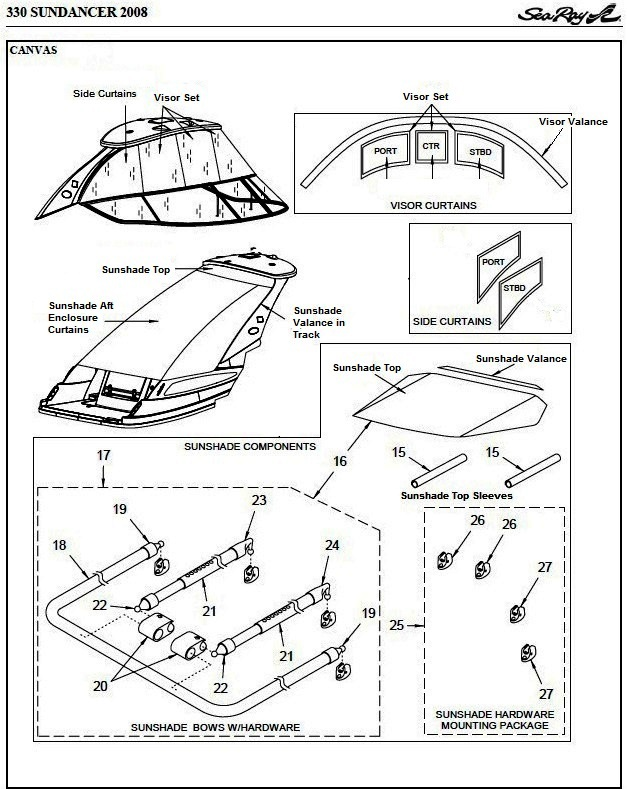 Sea Ray® 330-Sundancer, 2008: parts-manual-canvas-drawing