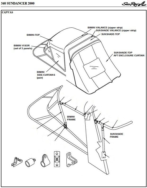 Sea Ray® 340-Sundancer, 2000: parts-manual-canvas-drawing