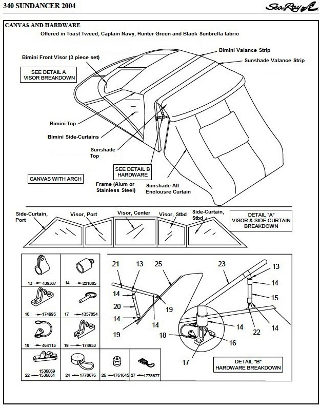 Sea Ray® 340-Sundancer, 2004: parts-manual-canvas-drawing