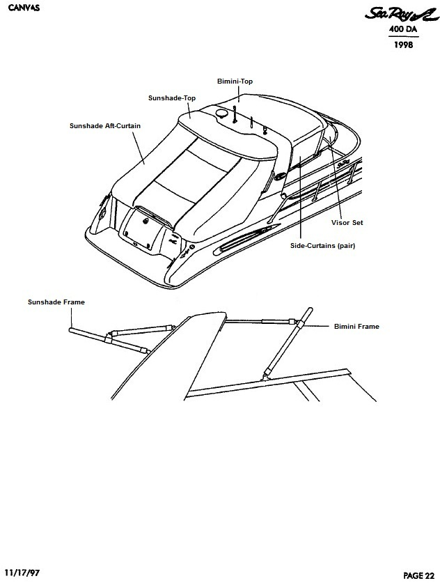 Sea Ray® 400-Sundancer, 1998: parts-manual-canvas-drawing