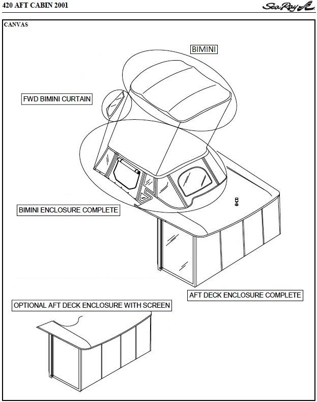 Sea Ray® 420-Aft-Cabin, 2001: parts-manual-canvas-drawing
