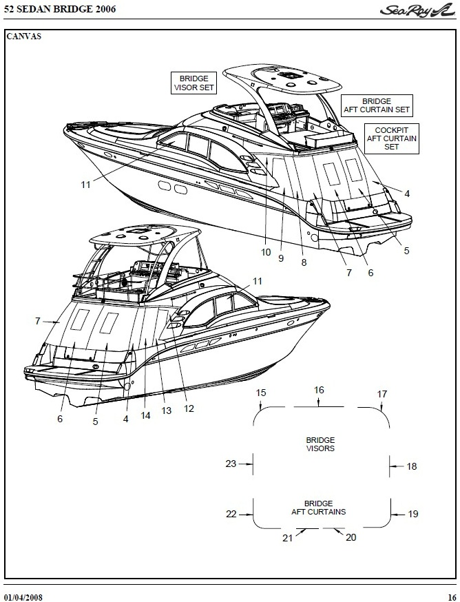 Sea Ray® 52-Sedan-Bridge, 2006: Sea Ray®-Parts-Manual