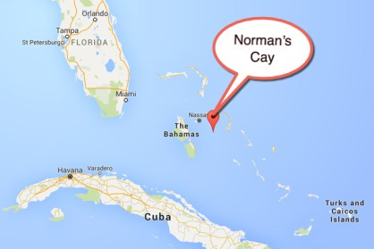 """Map location of Norman's Cay, also made famous in """"Blow"""" the movie featuring Johnny Depp"""