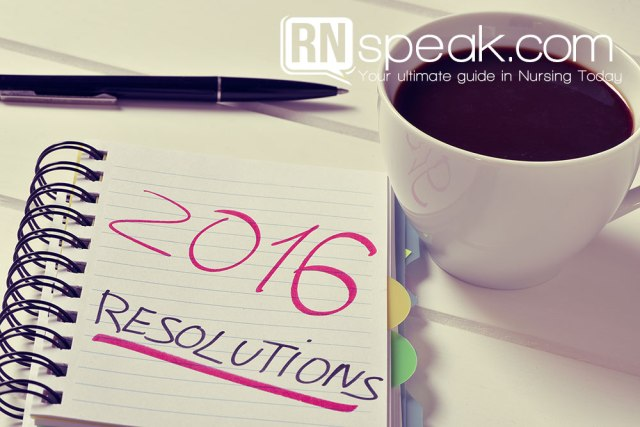 closeup of a notebook with the text 2016 resolutions written in it and a cup of coffee on a white table