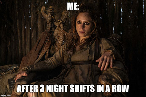 nurse end of shift game of throne