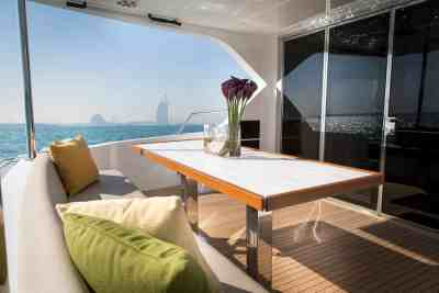 Majesty 62 Aft Seating Area