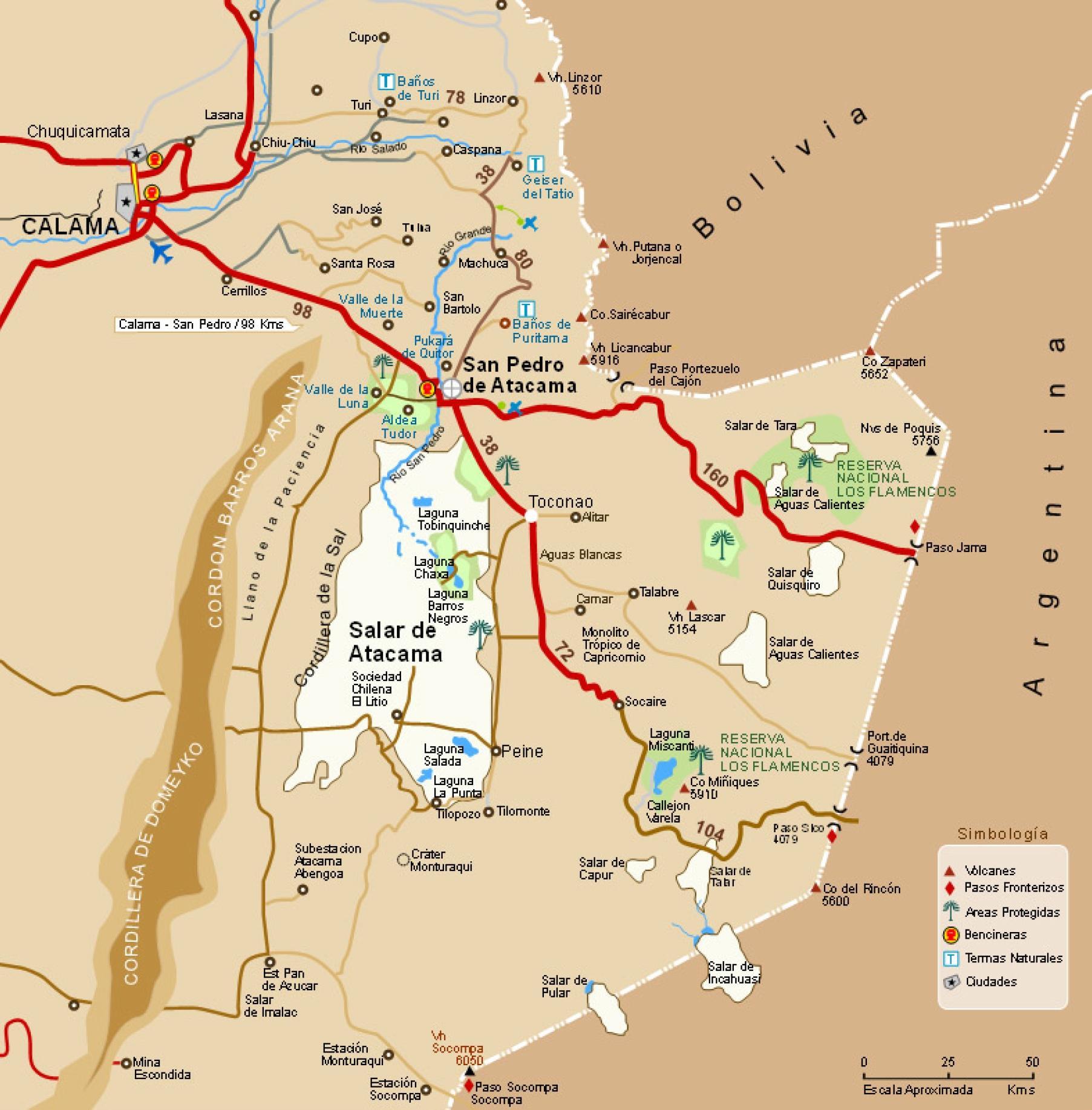 Deșertul Atacama din Chile harta - Hartă din atacama. Chile (America de Sud - America)