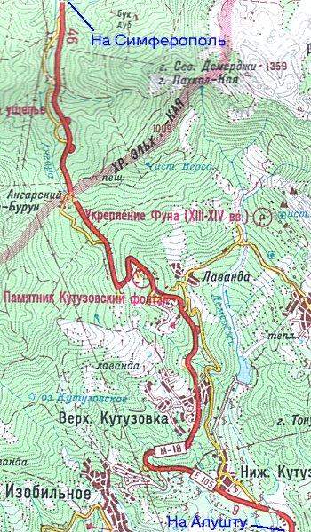 Новая и старая дороги Симферополь - Алушта