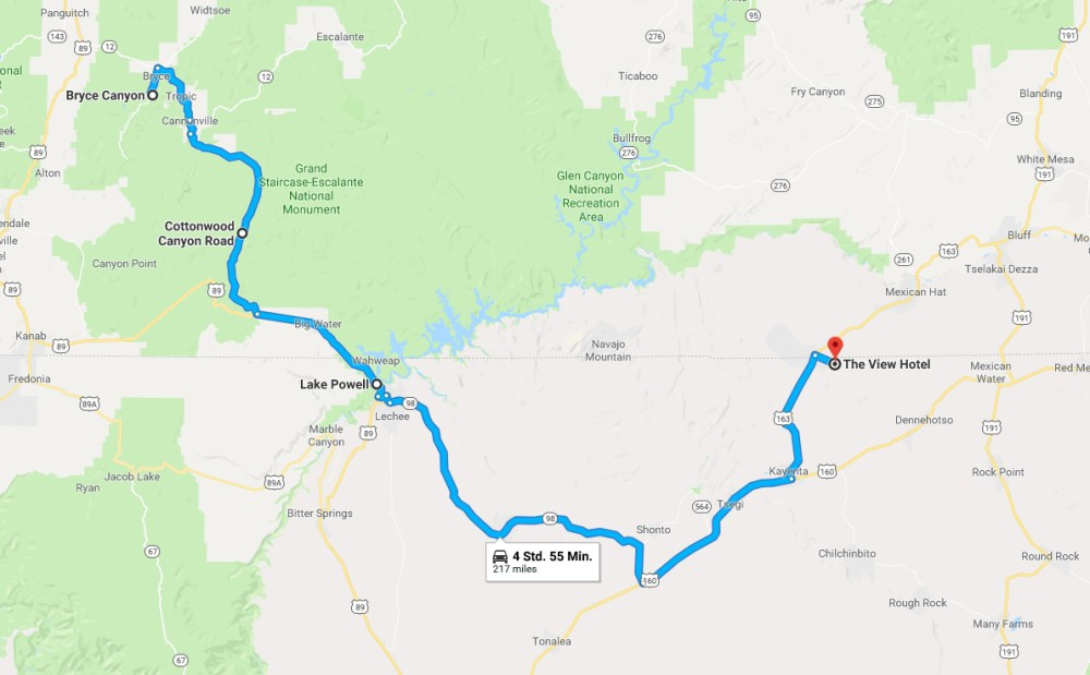 Bryce Canyon zum Monument Valley