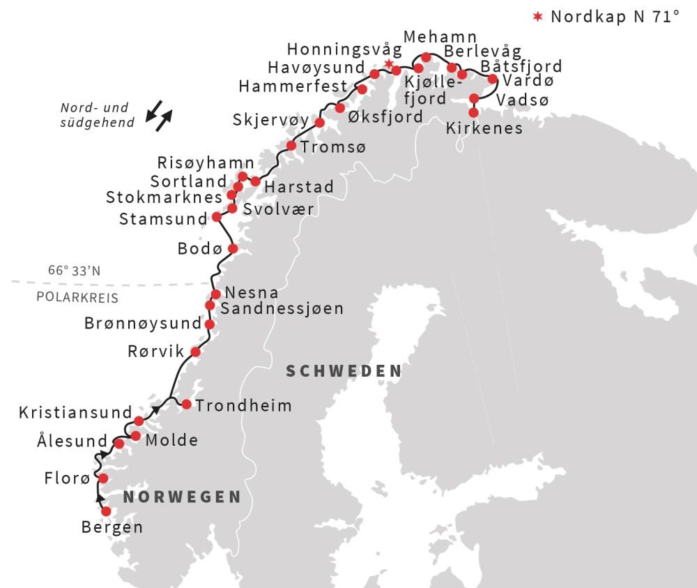 Hurtigruten Reise von Bergen bis Kirkenes