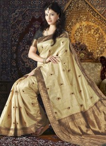 beautiful-beige-tussar-silk-saree