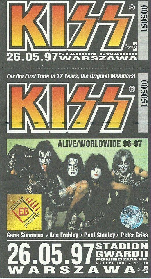 bilet na koncert zespołu kiss w warszawie na gwardii w roku 1997