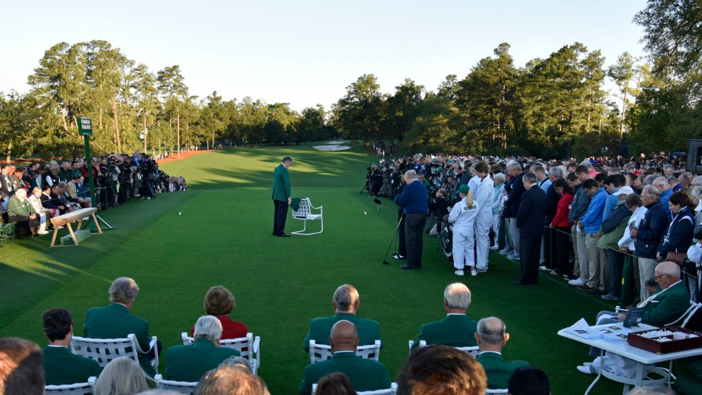 Chairman of Augusta National Golf Club and the Masters Tournament Billy Payne observes a moment of silence for golfing great and Masters champion Arnold Palmer during the honorary start of Round 1 of the Masters at Augusta National Golf Club, Thursday, April 6, 2017.