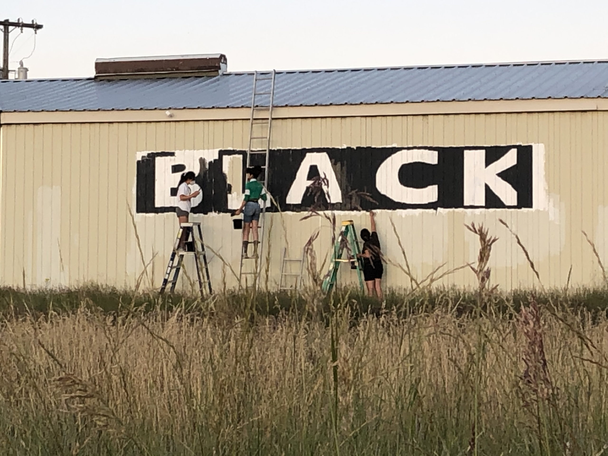 Three kids on ladders painting a Black Lives Matter sign