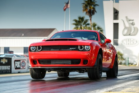 The 2018 Dodge Challenger SRT Demon is the world's first production car to lift the front wheels at launch. It set the world record for longest wheelie from a standing start by a production car at 2.92 feet, certified by Guinness World Records.
