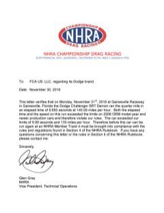 Notification letter for 2018 Dodge Challenger SRT Demon from National Hot Rod Association.