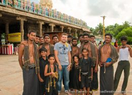 A group of religious pilfrims were very keen to have their photo taken with me. Kanchipuram, Tamil Nadu, India.