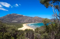 A bare and rocky mountain overlooks the sea following bush fires that destroyed its vegetation at Australia's southernmost point. Wilson's Promontory, Australia.