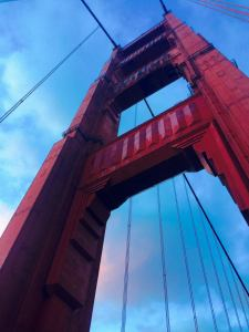 One of the giant Golden Gate beams reaches for the sky in a moment of fog-free clarity
