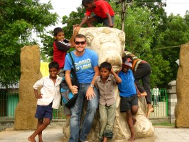 The local kids wanting to be in the picture. Mahabalipuram, Tamil Nadu, India