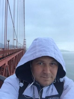 Walking over the Golden Gate Bridge. San Francisco, California