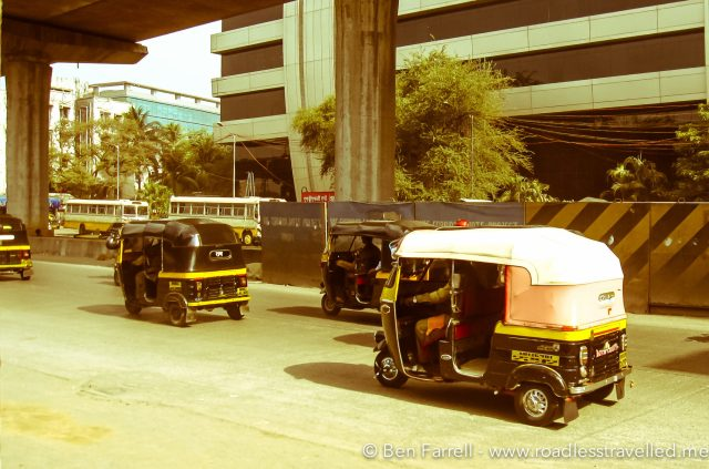 "An Indian Taxi - 'Auto Rickshaw' or ""Rik"" is the main form of transport."